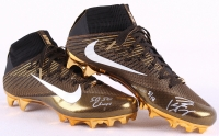 "Peyton Manning Signed LE New Pair of Gold Nike Shoes Inscribed ""SB 50 Champs"" (Fanatics Hologram)"
