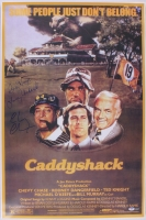 """Chevy Chase, Cindy Morgan & Michael O'Keefe Signed """"Caddyshack"""" 24x36 Movie Poster (PSA COA & Schwartz Hologram) at PristineAuction.com"""