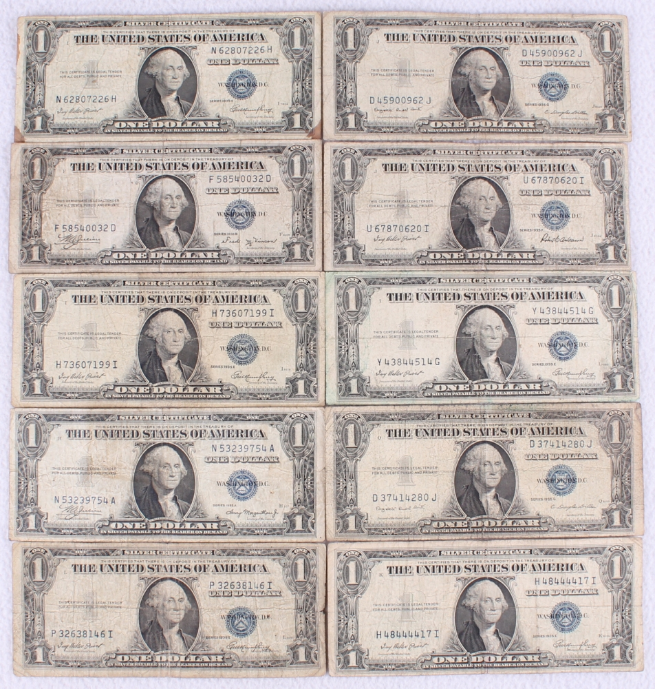 Online sports memorabilia auction pristine auction lot of 10 series 1935 blue seal 1 one dollar silver certificates at pristineauction 1betcityfo Images