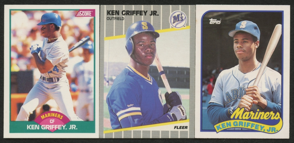 Lot Of 3 Ken Griffey Jr Baseball Rookie Cards With 1989 Score
