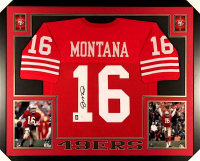 Joe Montana Signed 49ers 35x43 Custom Framed Jersey (JSA COA & Montana Hologram) at PristineAuction.com