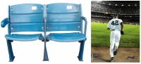 """Lot of (2) Yankees Items with (1) Authentic Pair of Seats From The Original Yankee Stadium & (1) Mariano Rivera Signed """"Entering the Game"""" Yankees 16x20 Photo (MLB & Steiner LOA)"""