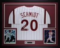 "Mike Schmidt Signed Phillies 35"" x 43"" Custom Framed Jersey Inscribed ""80 WS Champs"" (Fanatics & MLB)"
