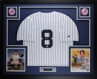 "Yogi Berra Signed Yankees 35"" x 43"" Custom Framed Jersey (PSA COA)"