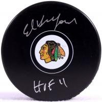 "Ed Belfour Signed Blackhawks Logo Hockey Puck Inscribed ""HOF 11"" (Schwartz COA) at PristineAuction.com"