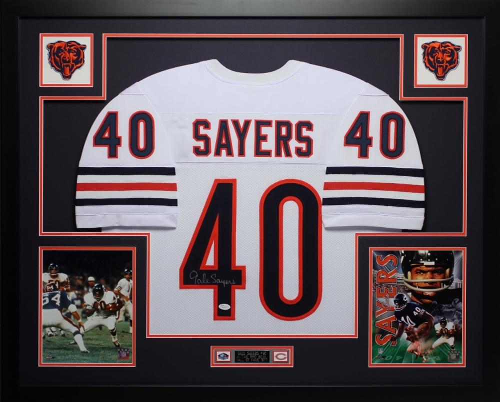 2c31b728376 Gale Sayers Signed Chicago Bears 35x43 Custom Framed Jersey Display (JSA  COA)