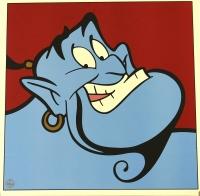 """Genie """"Aladdin"""" LE 1997 Walt Disney 23x23 Lithograph"""