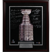"Stanley Cup Champions ""Stanley Cup Trophy"" 16x20 Custom Framed Photo Signed by (10) with Mario Lemieux, Mark Messier, Mike Richter, Bobby Hull (Steiner COA)"