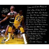"Larry Bird & Magic Johnson Signed 16x20 ""NBA Finals"" Story Photo (Steiner COA)"