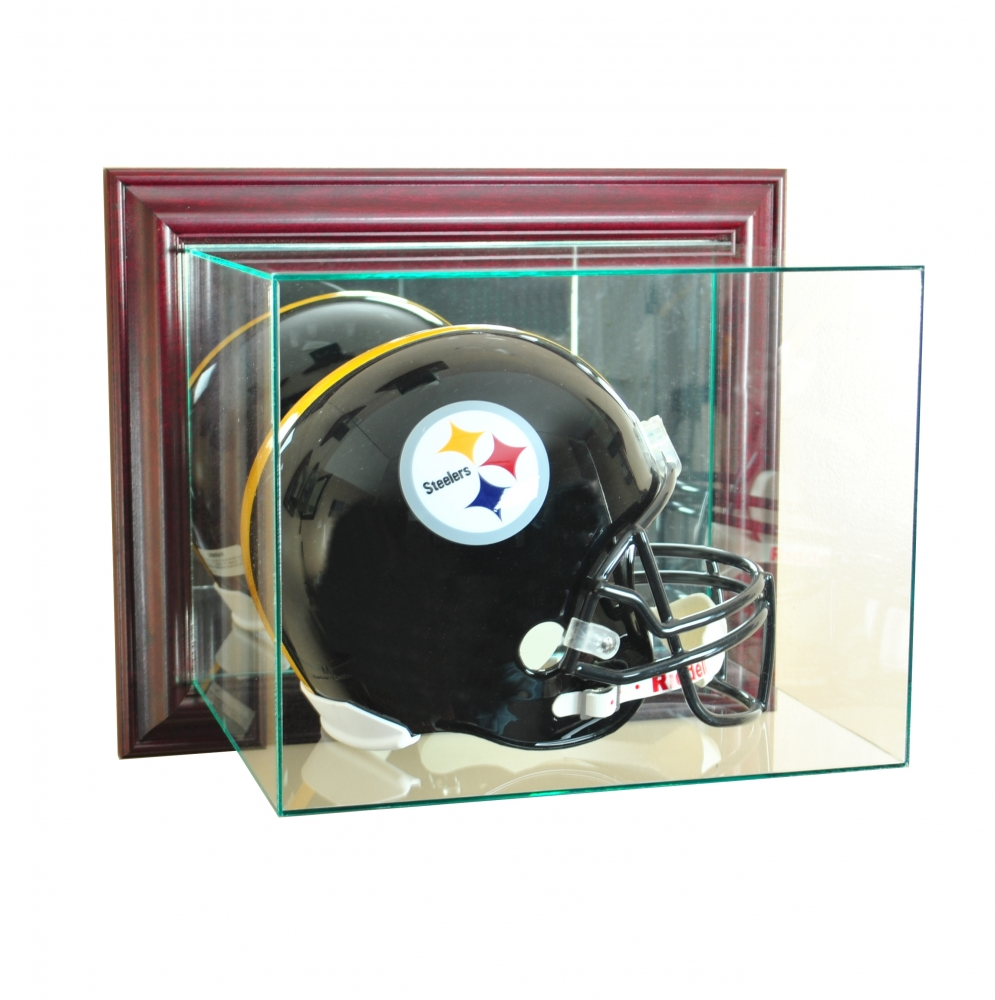 Wall Mounted Full Size Football Helmet Display Case With