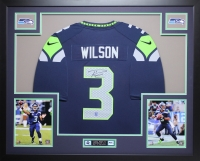 "Russell Wilson Signed Seahawks 35"" x 43"" Custom Framed Jersey (Wilson Hologram) at PristineAuction.com"