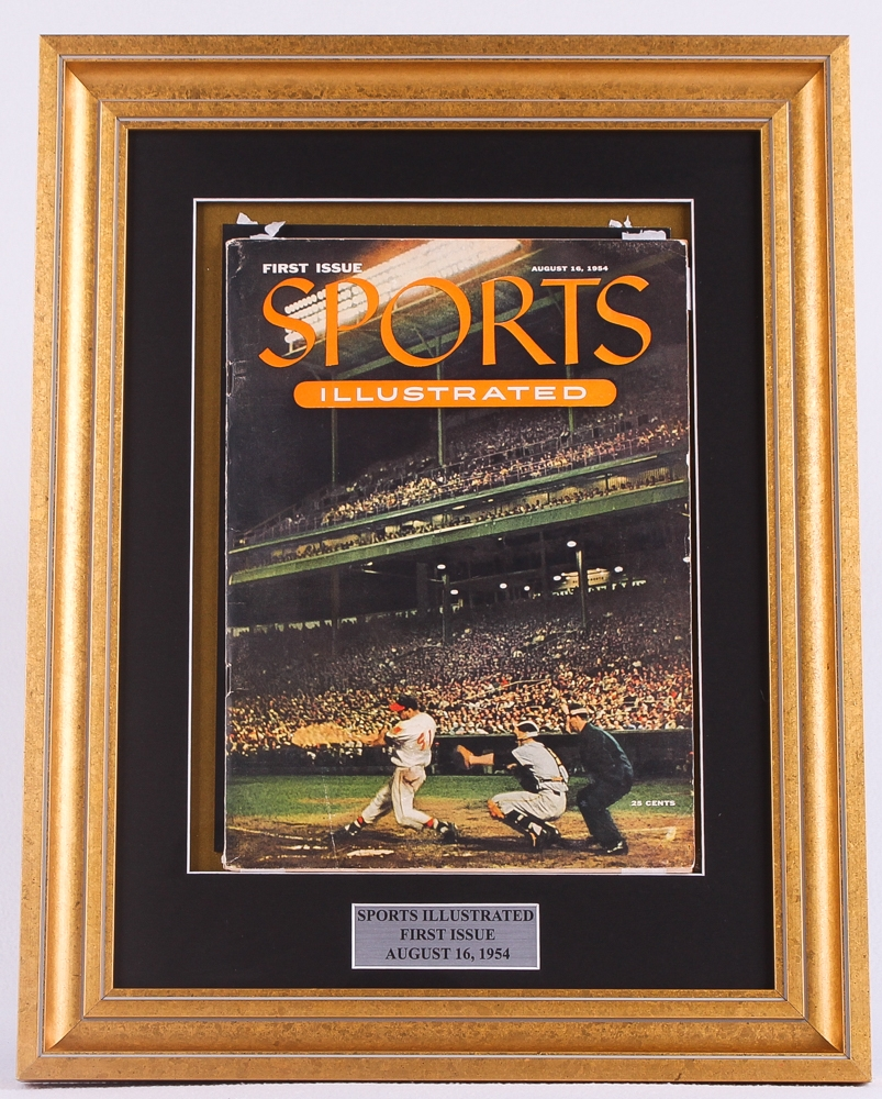 original vintage 1954 first issue sports illustrated 15x19 custom framed magazine display at pristineauctioncom