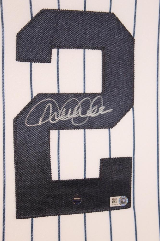 Derek Jeter Signed Yankees 35x43 Custom Framed Jersey