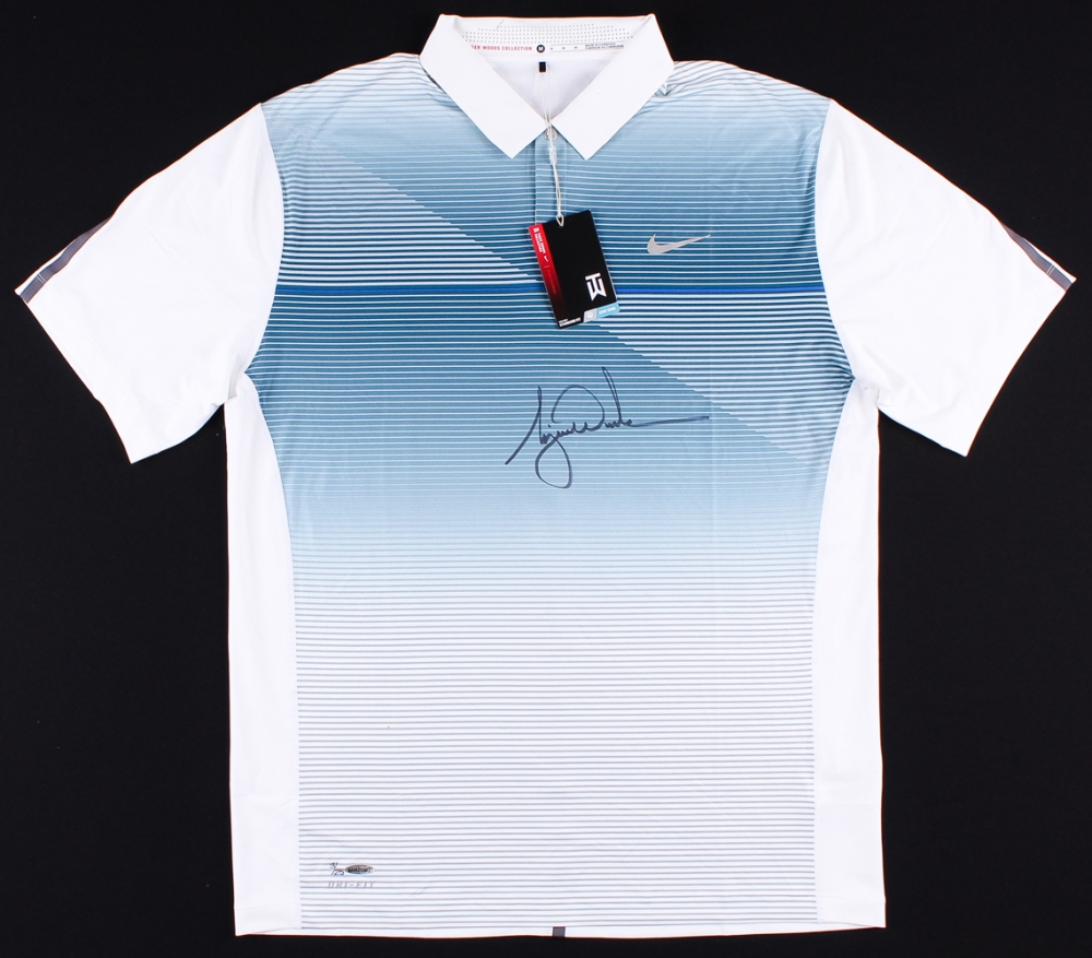 574fc217 Tiger Woods Signed LE Blue Metallic Nike Golf Shirt (UDA COA) at  PristineAuction.