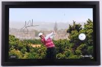 "Tiger Woods Signed LE ""10th Tee at the British Open"" 15x23 Custom Framed Photo Display with Golf Ball Breakthrough (UDA COA)"