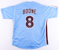 """Bob Boone Signed Phillies Jersey Inscribed """"1980 WS Champs"""" (Leaf COA)"""