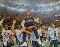 1985 Bears Team Signed Super Bowl XX Ditka Carried Off Field 16x20 Photo (30 Sigs) at PristineAuction.com