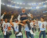 1985 Bears Team Signed Super Bowl XX Ditka Carried Off Field 20x24 Photo (30 Sigs) at PristineAuction.com