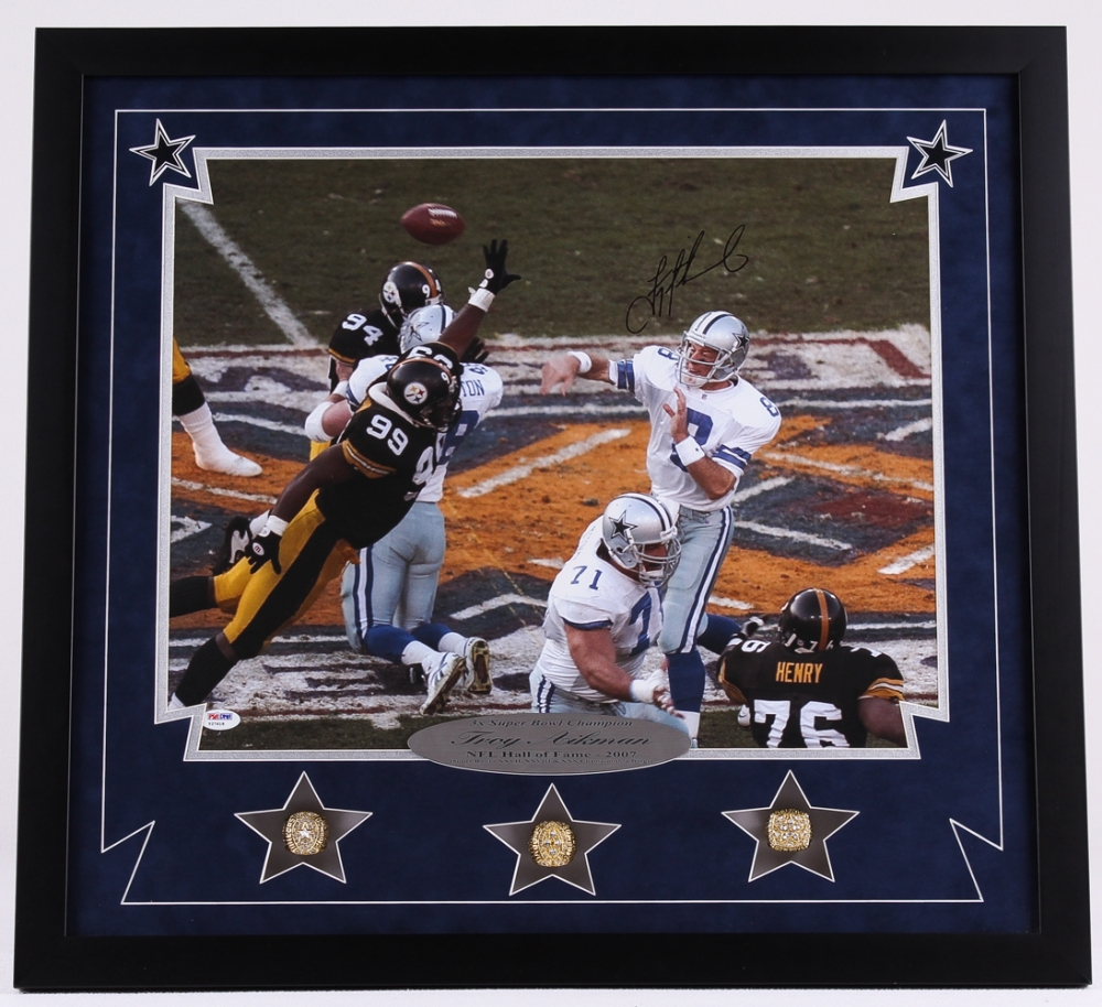 9be808a01 Troy Aikman Signed Cowboys 24x26x2 Custom Framed Shadowbox Super Bowl  Championship Ring Display with XXVII