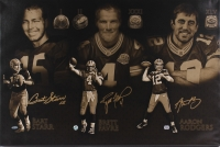 "Bart Starr, Brett Favre & Aaron Rodgers Signed Packers ""Super Bowl Champion Quarterbacks"" 24x36 Stretched Canvas (Favre COA, Fanatics & TriStar Hologram)"