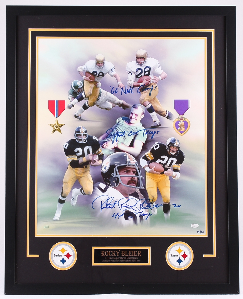 6bc12983550 ... Rocky Bleier Signed Steelers LE 29x36 Custom Framed Photo Display  Inscribed ...