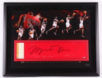 Michael Jordan Signed Bulls 28x36 Custom Framed Authentic Game-Used Floor Piece Limited Edition #23/23 (UDA COA) at PristineAuction.com