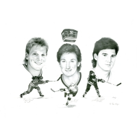 "Wayne Gretzky, Brett Hull & Mario Lemieux Signed LE ""50 Goals In 50 Games"" 26x36 Lithograph (Scoreboard Inc Certificate)"