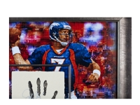 John Elway Signed LE Broncos 36x36 Custom Framed Tegata Handprint Display (UDA COA) at PristineAuction.com