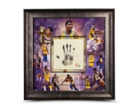 "Magic Johnson Signed LE Lakers 36x36 Custom Framed Tegata Handprint Display Inscribed ""HOF 02"" (UDA COA)"