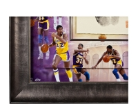 "Magic Johnson Signed LE Lakers 36x36 Custom Framed Tegata Handprint Display Inscribed ""HOF 02"" (UDA COA) at PristineAuction.com"
