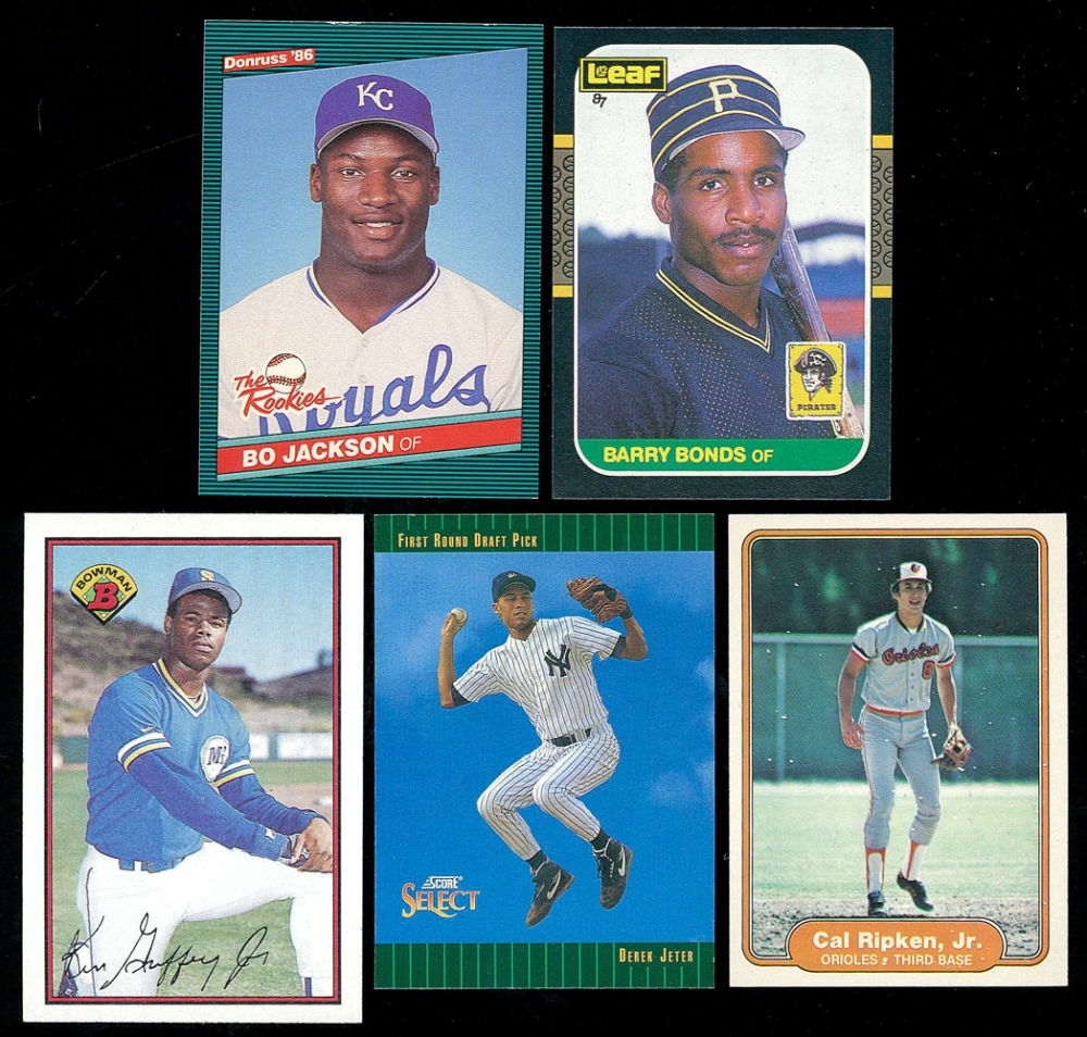 2a554c72fd Lot of (5) Baseball RCs with Bo Jackson, Barry Bonds, Ken Griffey