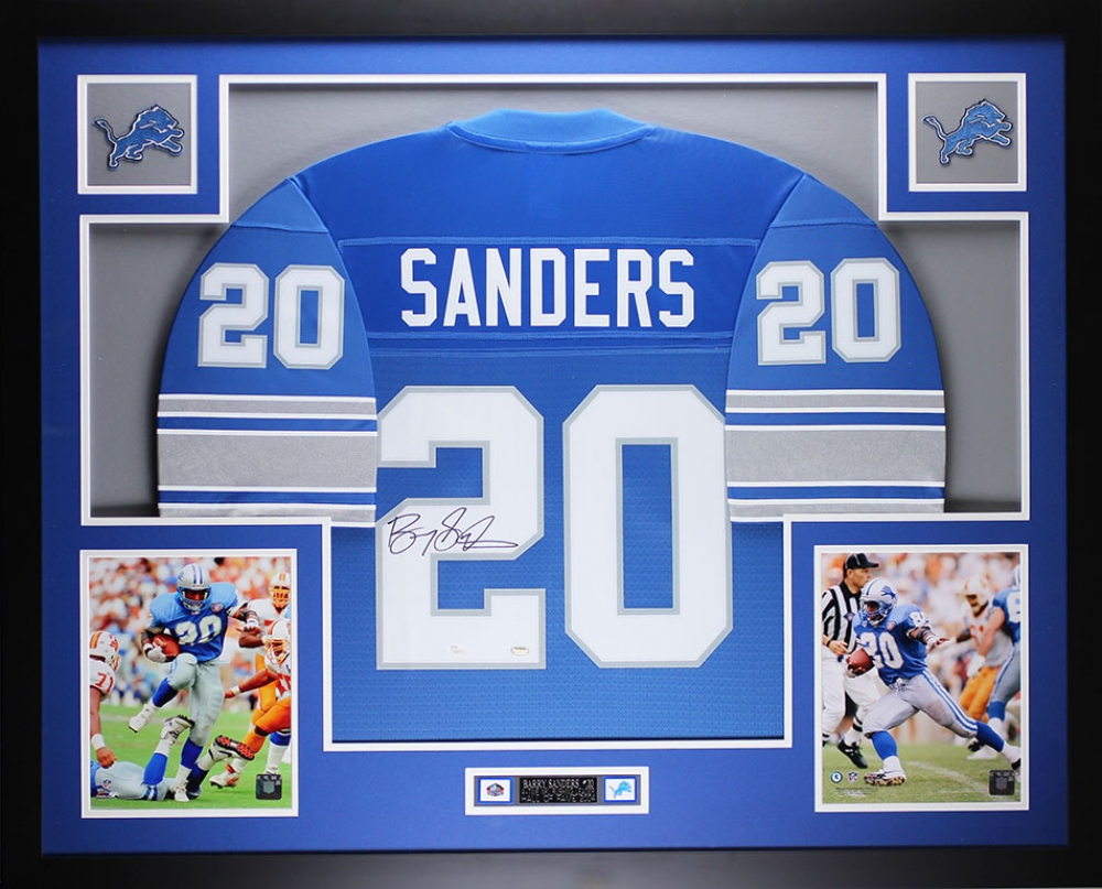Barry Sanders Detroit Lions Autographed Custom Jersey JSA holo