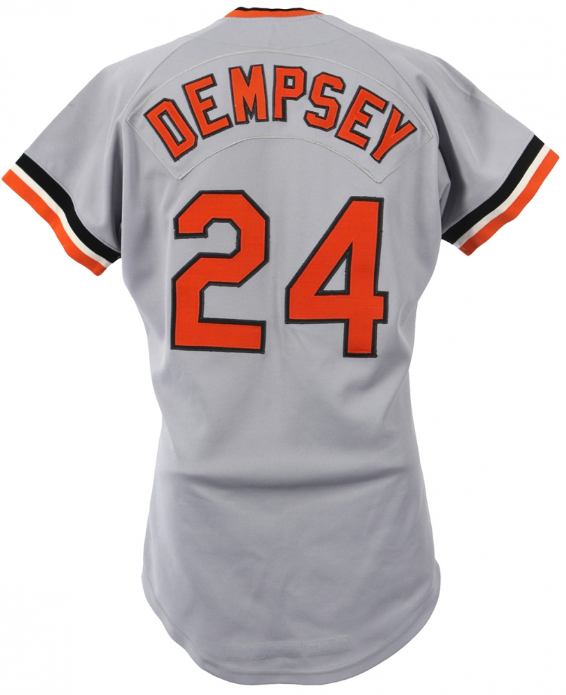 f789fc25d30 1986 Rick Dempsey Orioles Game-Worn Road Jersey Team-Signed by (39)