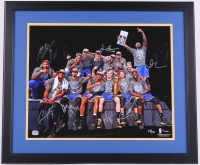 Multi-Signed LE Warriors 22x26 Custom Framed Photo Signed by (7) With Stephen Curry, Klay Thompson, Andre Iguodala, Shaun Livingston, David Lee, Harrison Barnes & Marreese Speights (Fanatics Hologram)