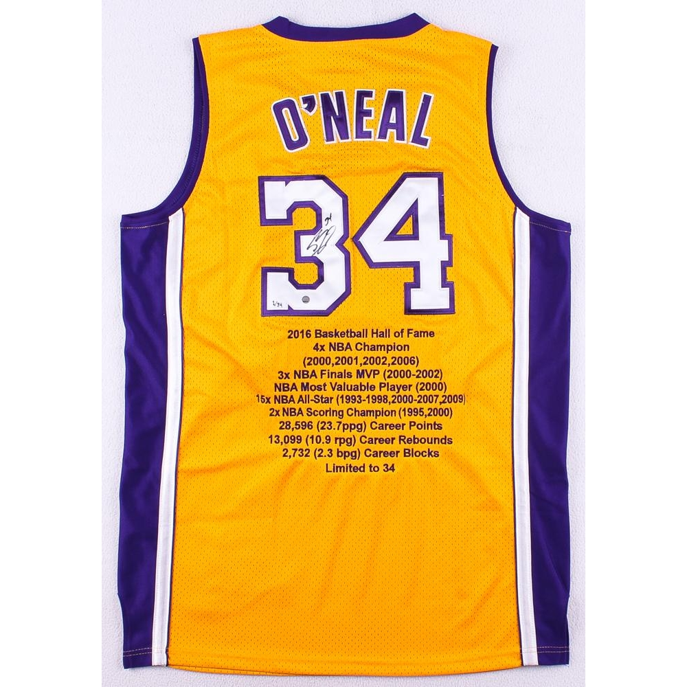 0b180590af5 Shaquille O Neal Signed Lakers Authentic On-Court Career Highlight Stat  Jersey Limited Edition  1 34 (Steiner COA)