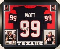J.J. Watt Signed Texans 35x43 Custom Framed Jersey (JSA COA)