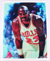 "Michael Jordan Signed Bulls ""Court Jester"" 33x43 Lithograph on Canvas Limited Edition AP #1/10 (UDA COA)"