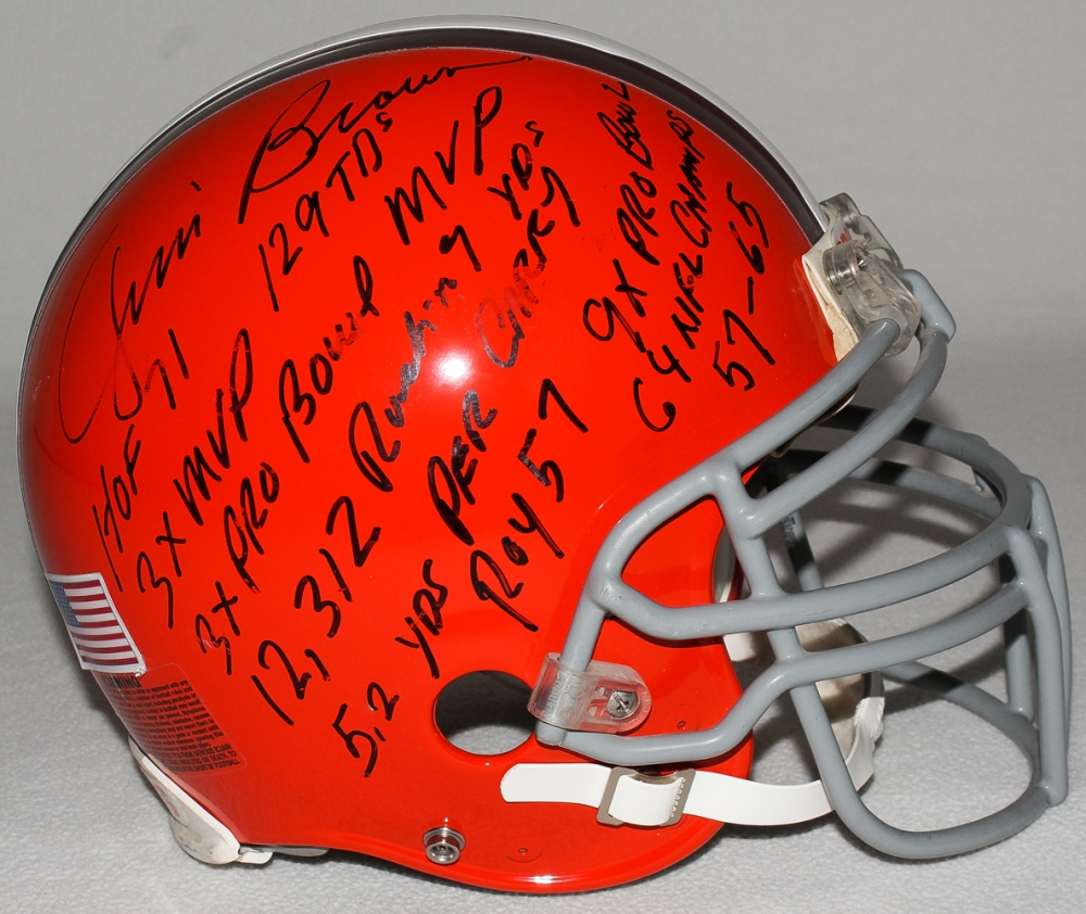 809dd34e1da Jim Brown Signed Browns Full-Size Authentic Pro-Line Helmet With (10)