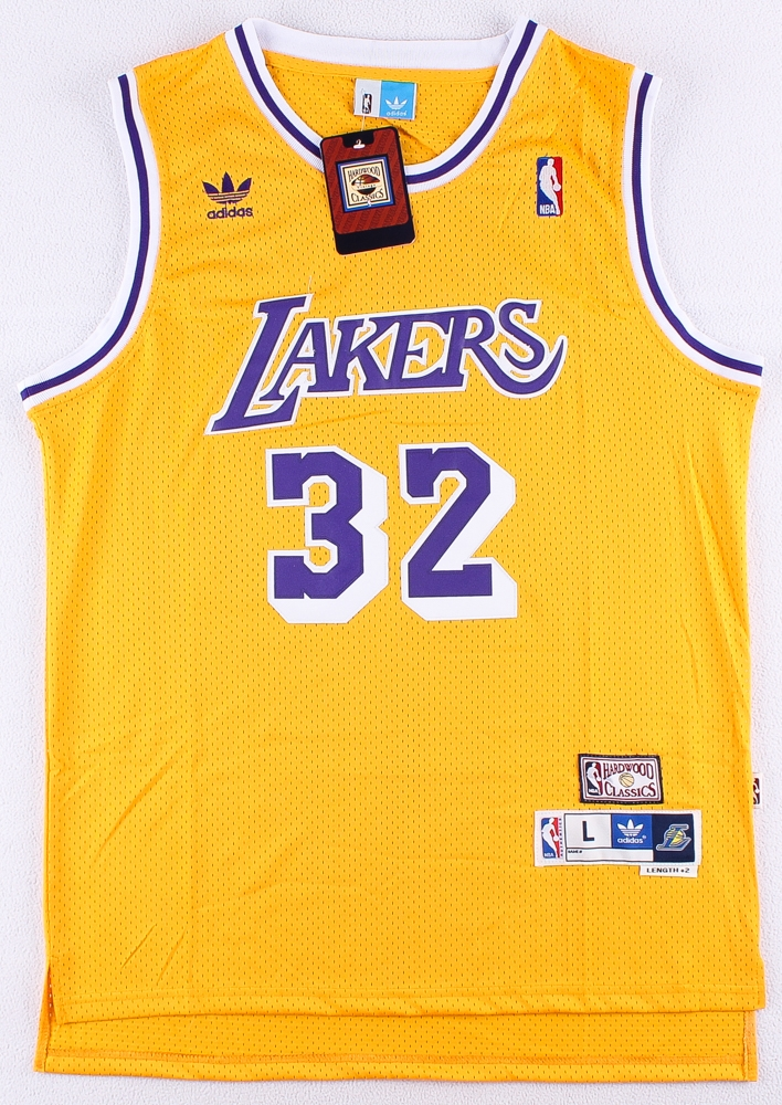 6095738d6 Magic Johnson Lakers Adidas Hardwood Classics On-Court Style Stitched Jersey  (Size L)