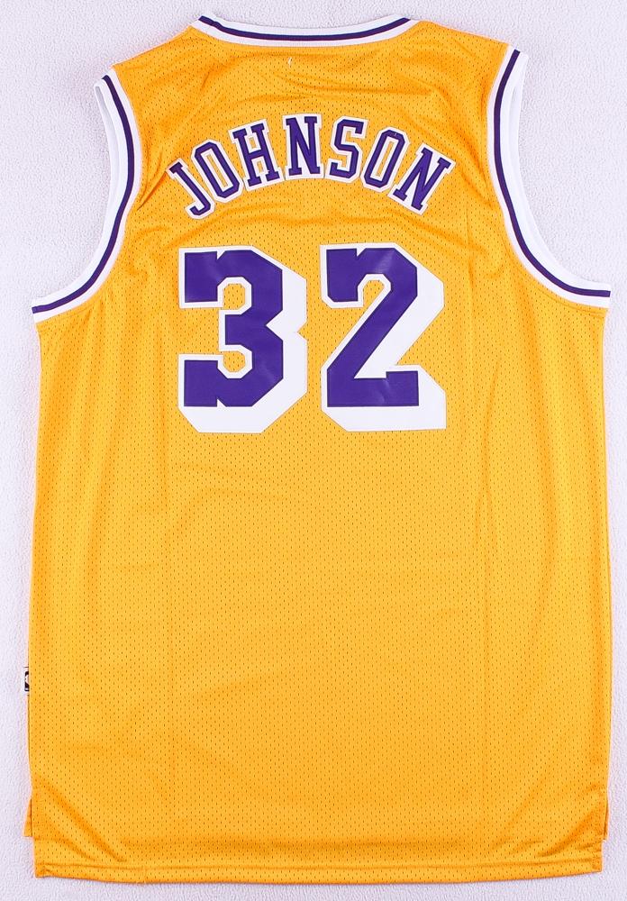 c334f8e4ba19 Magic Johnson Lakers Adidas Hardwood Classics On-Court Style Stitched Jersey  (Size XL)