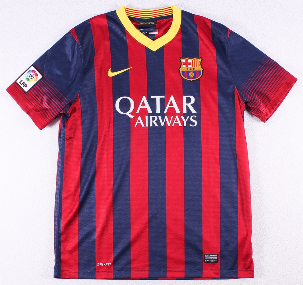 f9aa343cd Lionel Messi Signed FC Barcelona Soccer Jersey Inscribed