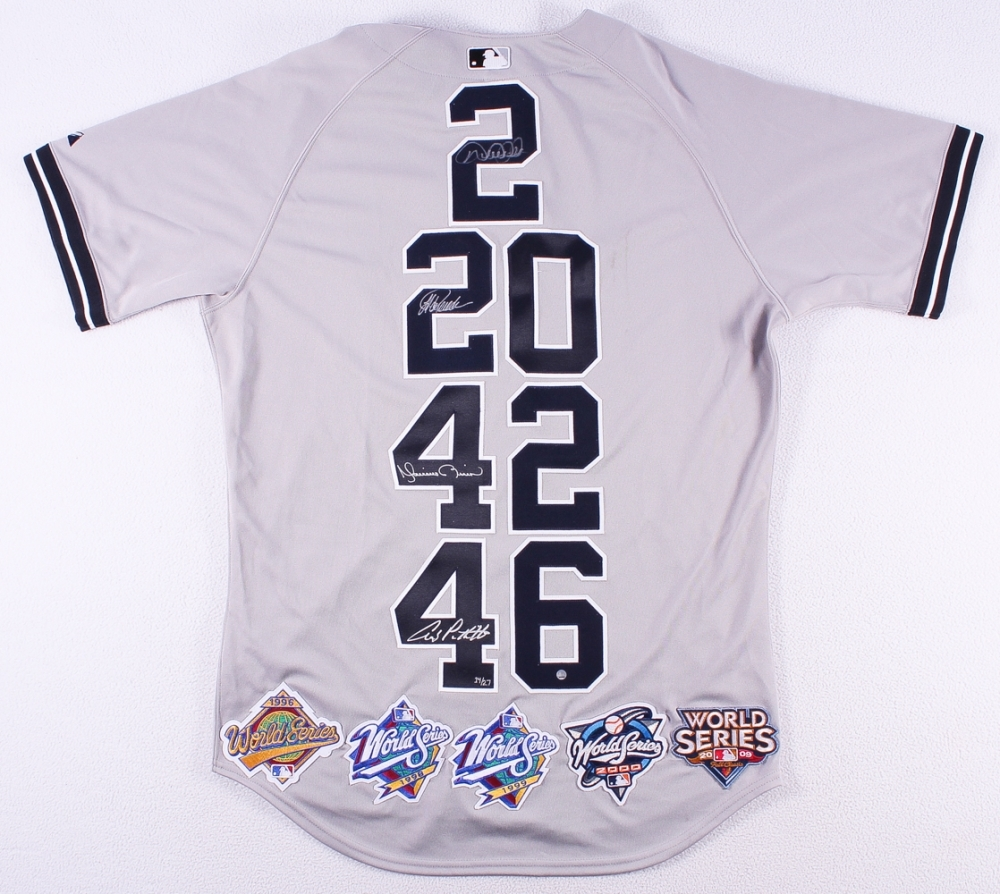 9137f5e0664 main 1500421878-Derek-Jeter -Mariano-Rivera-Andy-Pettitte-Jorge-Posada-Signed-LE-Yankees-Core-Four- Majestic-Authentic-Jersey-with-5-World-Series-Patches- ...