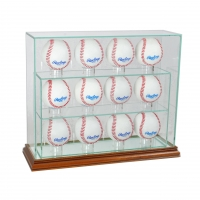 Premium 10-12 Baseball Upright Glass Display Case with Mirrored Walnut Wood Base & Mirrored Back (New) at PristineAuction.com