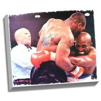 "Mike Tyson & Evander Holyfield Signed ""Tyson Biting Holyfield's Ear"" 22"" x 26"" Canvas (Steiner COA)"