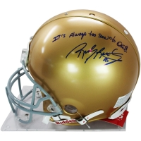 "Rudy Ruettiger Signed Notre Dame Fighting Irish Full-Size Authentic Proline Helmet Inscribed ""It's Always Too Soon to Quit"" (Steiner COA)"