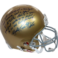 Rudy Ruettiger Signed Notre Dame Fighting Irish Full Size Authentic Proline Helmet with Extensive Inscription (Steiner COA)