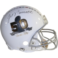 Joe Namath Signed Super Bowl 50 'Super Bowl On The Fifty' Full-Size Authentic Proline Helmet (Steiner COA)