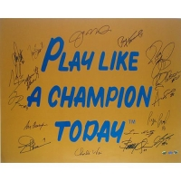 "Notre Dame Fighting Irish ""Play Like A Champion Today"" 20x30 Photo Team-Signed by (16) with Joe Montana, Jerome Bettis, Joe Theismann, Lou Holtz (Steiner COA)"