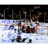 1980 Team USA Hockey 16x20 Photo Team-Signed by (17) with Mike Eruzione, Craig Patrick, Jim Craig, Jack O'Callahan (Steiner COA)