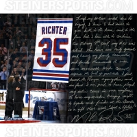"Mike Richter Signed Rangers ""Retirement Night"" 16x20 Photo with Handwritten Story Inscription (Steiner COA)"